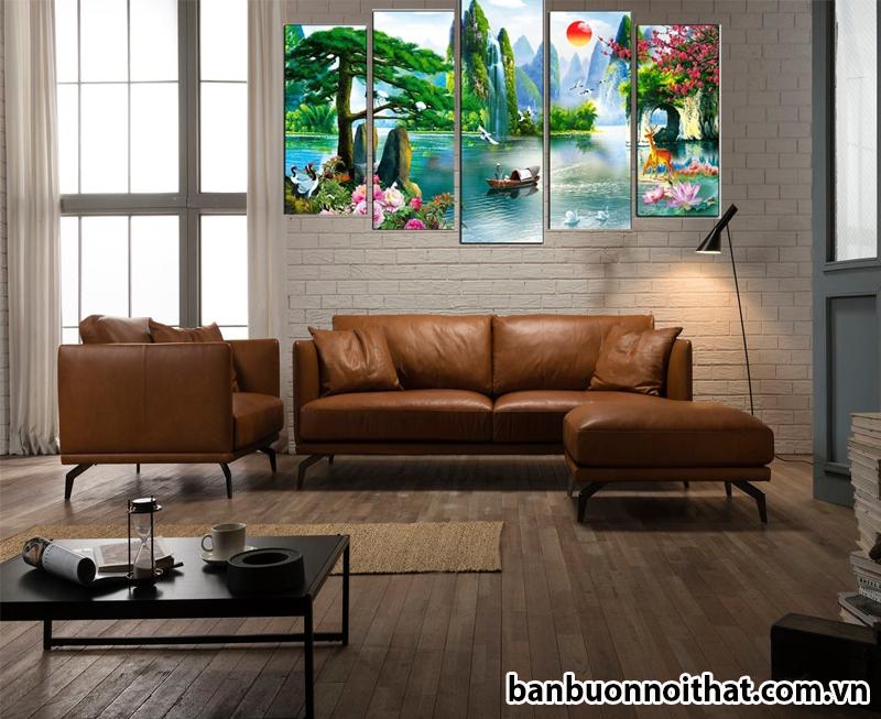 Hình ảnh tranh phong cảnh phong thủy trong một không gian hiện đại