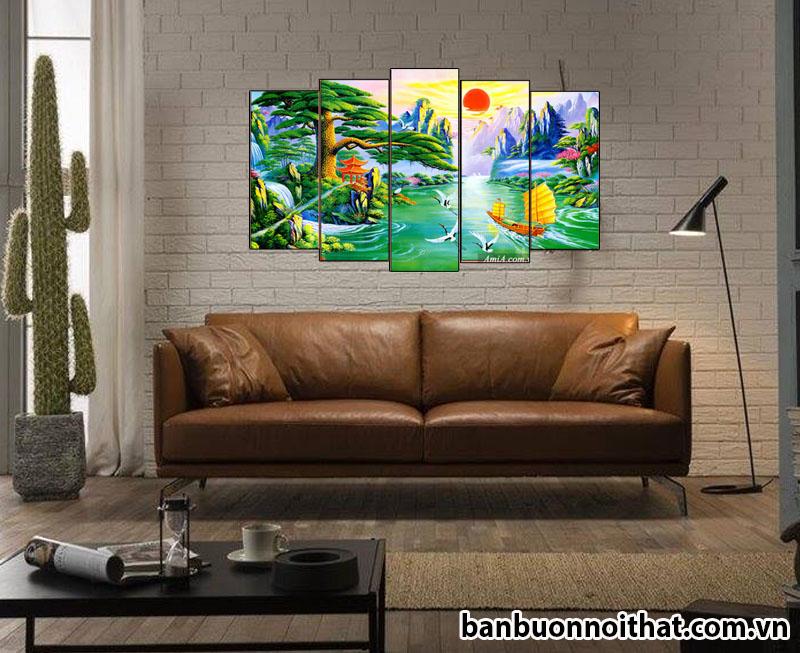Tranh thuận buồm xuôi gió -tùng nghênh khách trang trí tường với sofa da hiện đại