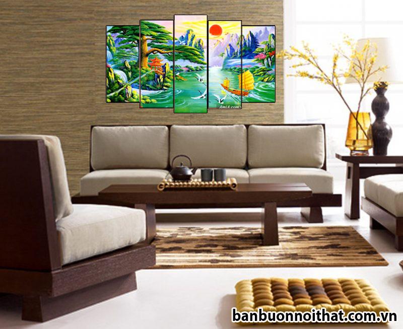 Kết hợp cùng sofa gỗ hài hòa