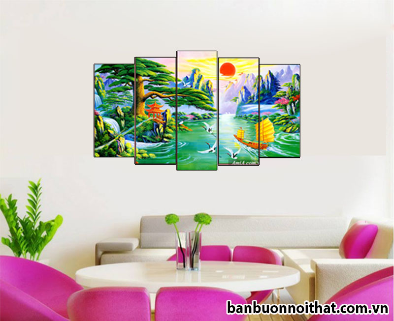 Tranh phong cảnh phong thủy in ép gỗ Amia 1420 trang trí văn phòng