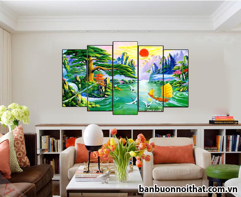 Tranh phong cảnh phong thủy in ép gỗ Amia 1420 trang trí phòng làm việc