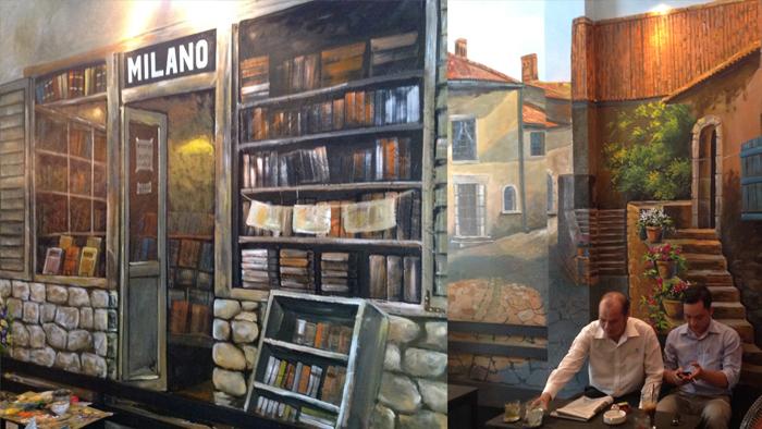 Với các quán cafe có kinh phí lớn cho trang trí tường thì có thể chọn tranh sơn dầu hoặc vẽ tranh tường