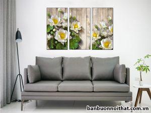Tranh hoa sen đẹp được sản xuất tại xưởng tranh Amia