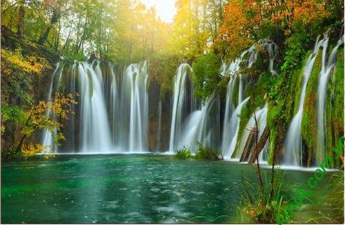 Bán buôn tranh phong cảnh thác nước in ép gỗ khổ lớn