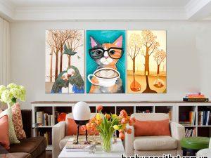 Bán buôn tranh con mèo treo phòng trẻ em, phòng đọc sách làm việc hoặc phòng tuổi teen