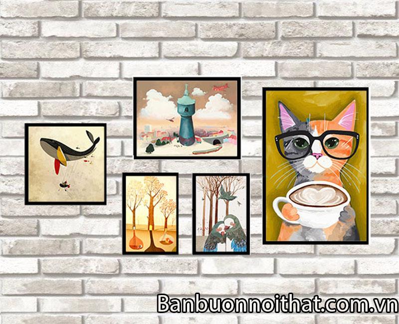 Set tranh chú mèo thích hợp trang trí quán cà phê trẻ.