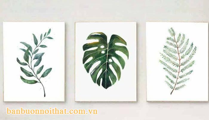 Bộ tranh lá cây trang trí quán cà phê , đặc biệt đẹp với các quán thiết kế gạch thẻ