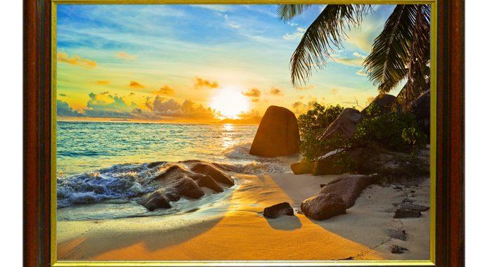 Tranh phong cảnh bình minh trên biển nhìn là mê