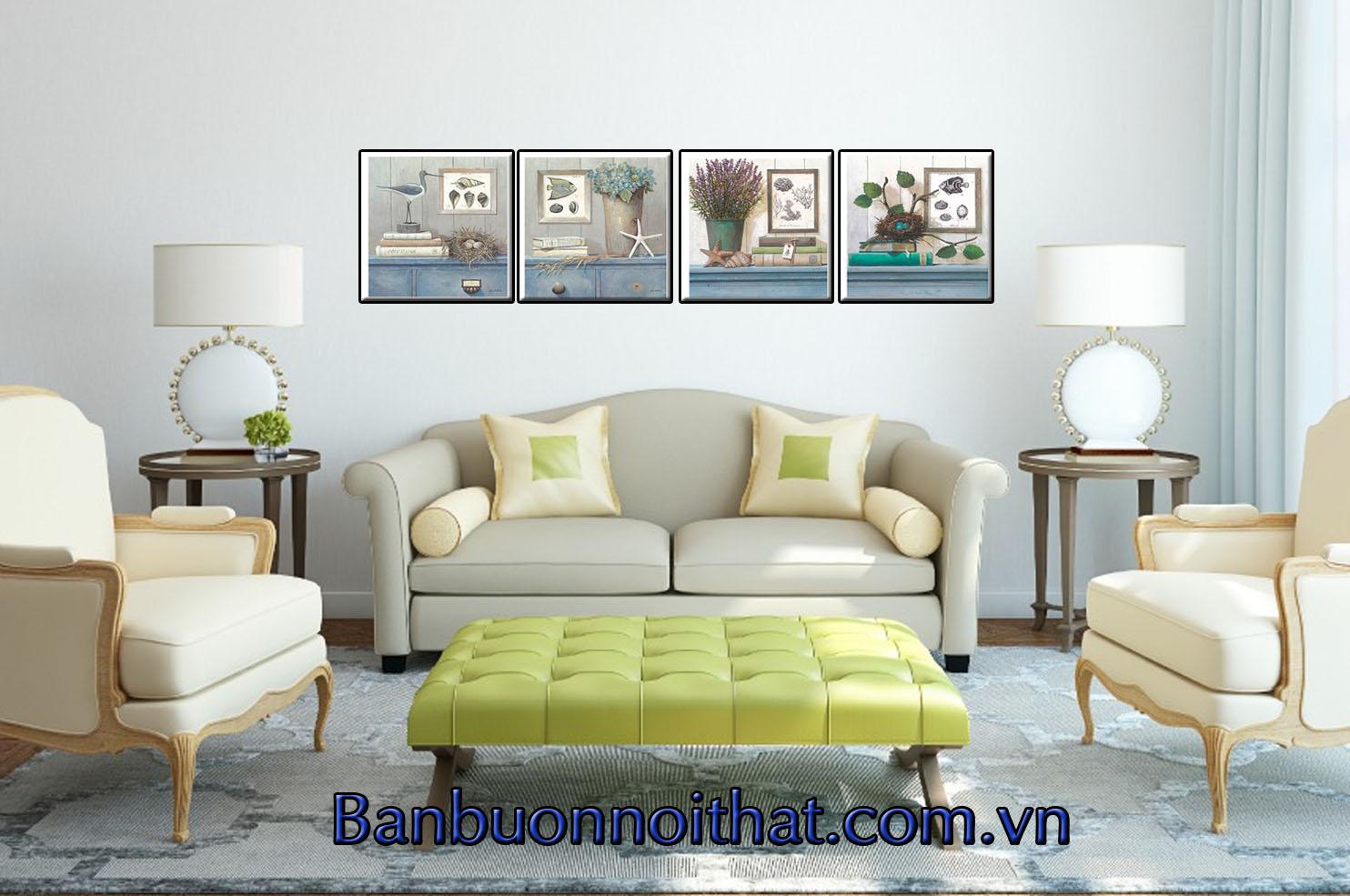 Tranh Vintage trang trí phòng khách với không gian sang trọng