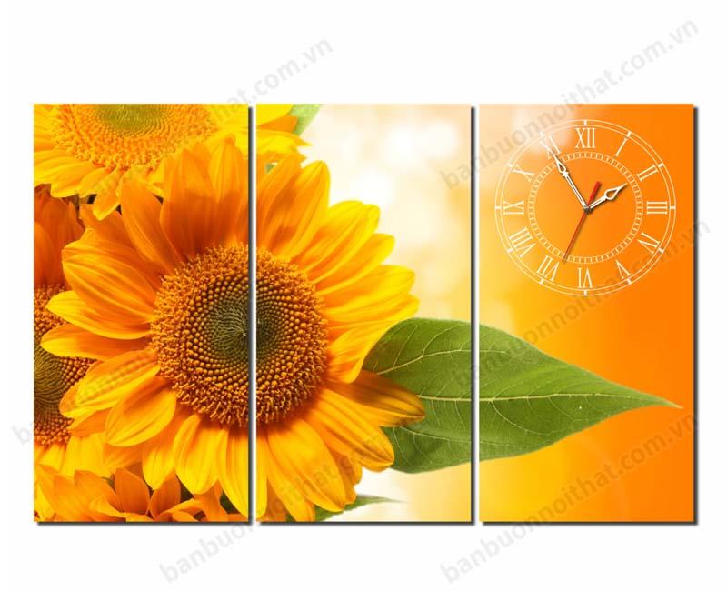 Tranh đồng hồ hoa hướng dương 3 tấm sắc vàng treo phòng thiếu ánh sáng mang lại may mắn