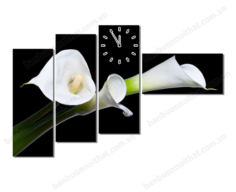 Tranh đồng hồ hoa loa kèn được bán buôn, bán sỉ tại xưởng sản xuất tranh Amia