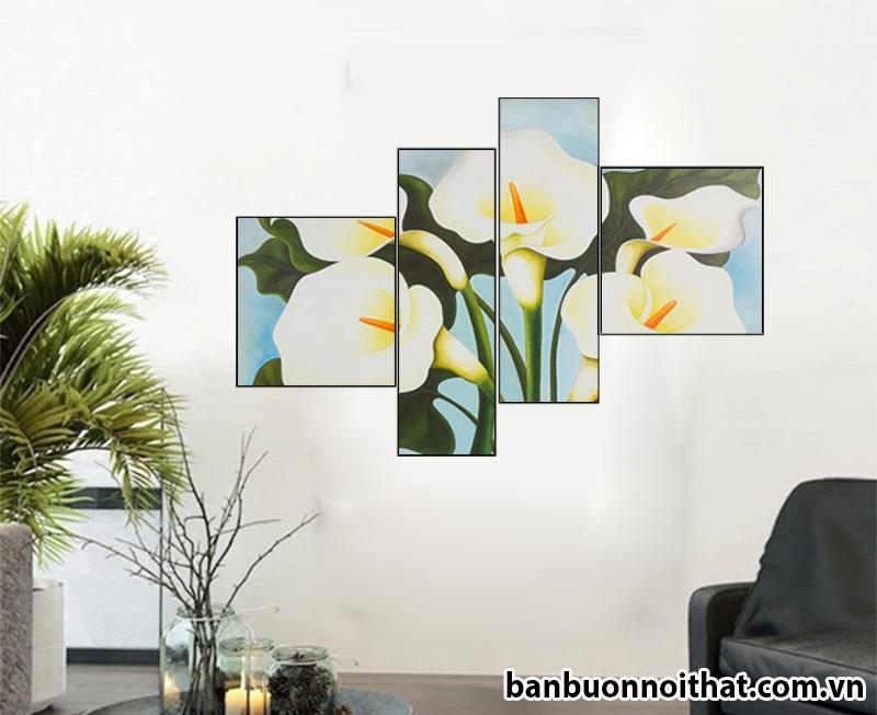 Ý nghĩa tranh hoa loa kèn là chúc trăm năm hạnh phúc