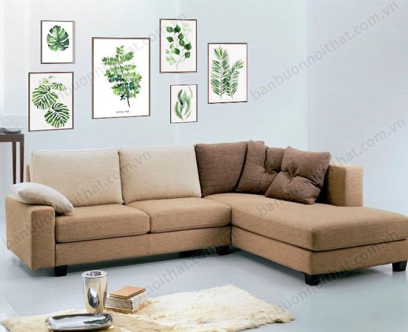 Mẫu tranh canvas ghép nhiều tấm trang trí phòng khách cùng sofa nỉ cao cấp