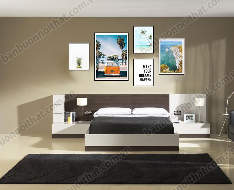 Bộ khung tranh canvas mùa hè sôi động hợp trang trí không gian phòng ngủ rộng thoáng