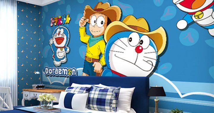 Tranh trang trí phòng trẻ em bằng hình Doremon, ý tưởng độc đáo, đẹp, sáng tạo