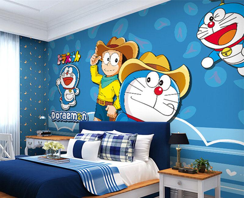 Dùng giấy dán tường khổ lớn tranh Doremon trang trí bức tường đầu giường trẻ