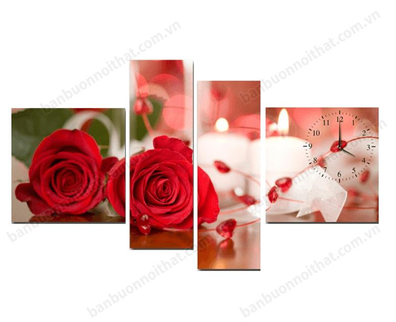 Tranh hoa hồng đỏ ghép đồng hồ hiện đại, độc đáo cho không gian đầy lãng mạn