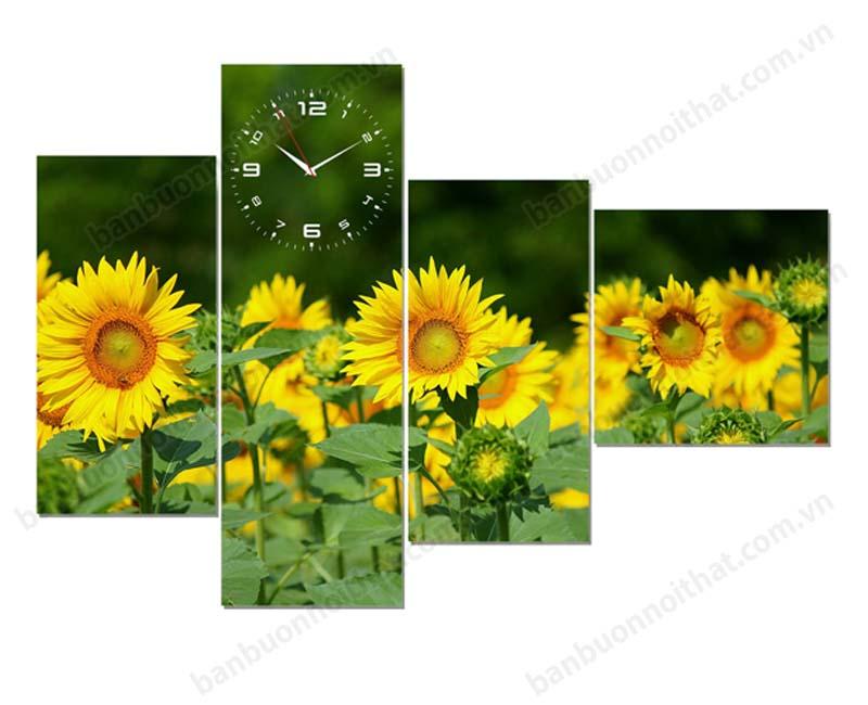 Tranh đồng hồ hoa hướng dương không chỉ dùng để trang trí còn là vật phong thủy mang lại thành công