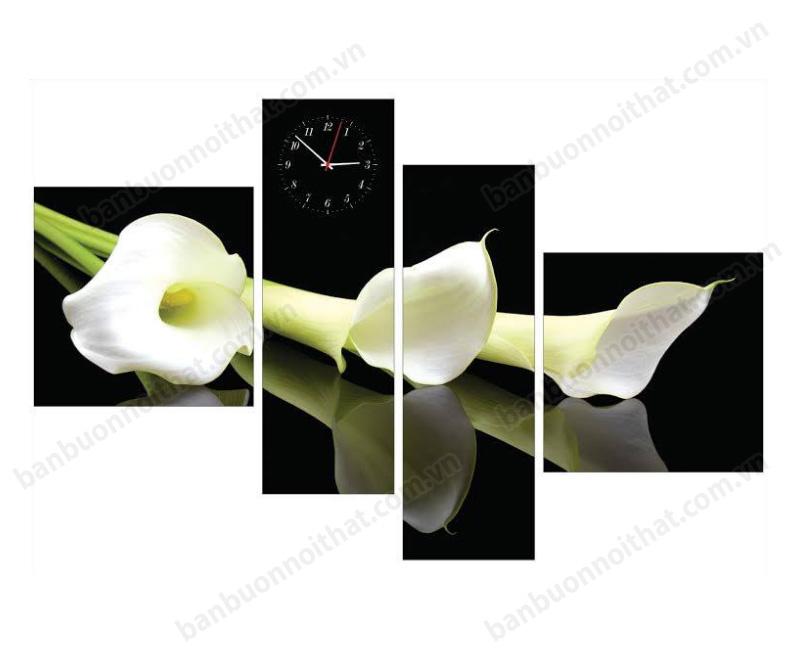 Mẫu tranh đồng hồ hoa loa kèn, hoa rum được ưu chuộng nhất