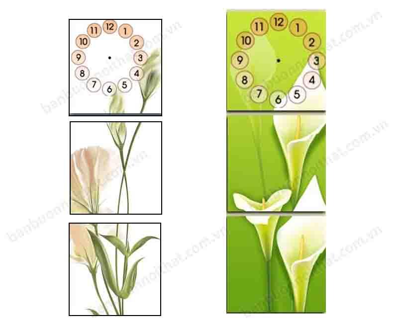 Mẫu tranh đồng hồ ghép bộ 3 tấm dọc hiện đại, tinh tế