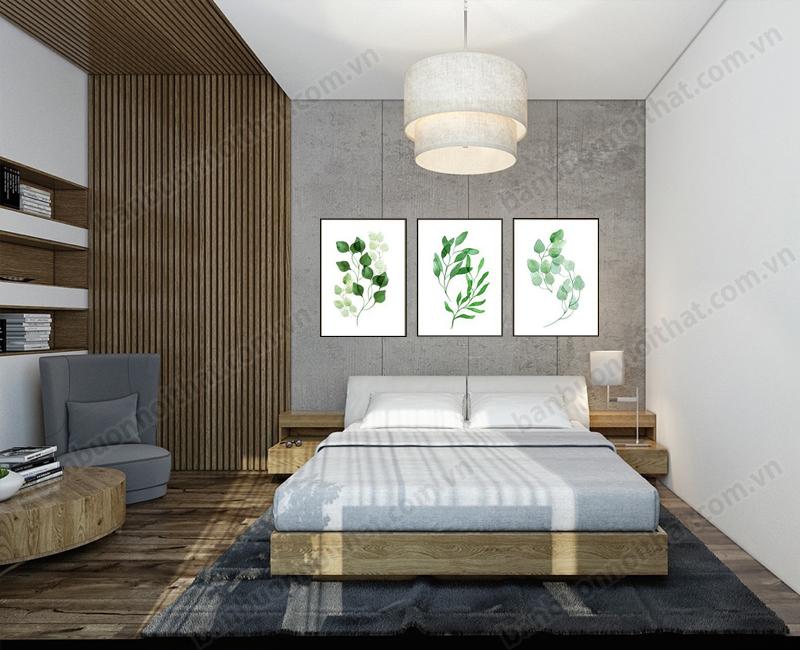 Một mẫu tranh canvas in hình lá cây khổ nhỏ trang trí đầu giường