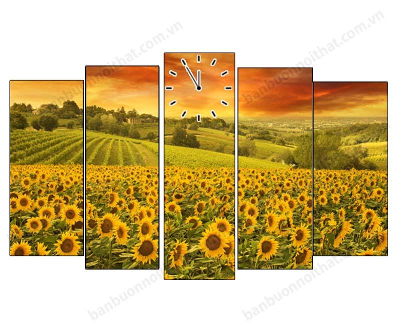 Mẫu tranh đồng hồ cánh đồng hoa hướng dương đẹp trang trí phòng khách hoặc phòng làm việc