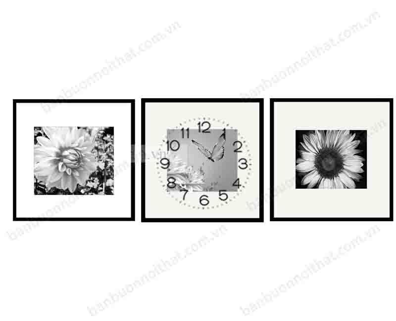 Mẫu tranh đồng hồ đen trắng khổ nhỏ trang trí căn hộ có không gian khiêm tốn