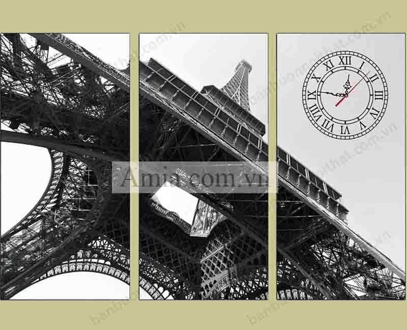 Mẫu tranh đồng hồ đen trắng tháp Eiffel đẹp trang trí phòng khách hiện đại