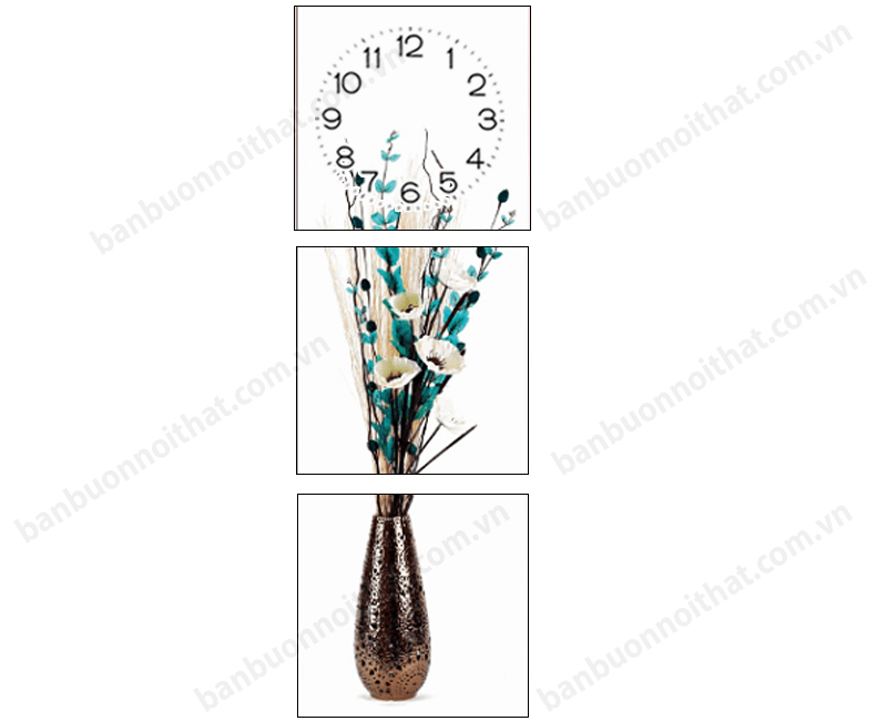 Mẫu tranh dọc bình hoa in ép gỗ - Mẫu tranh đồng hồ trang trí tường hẹp