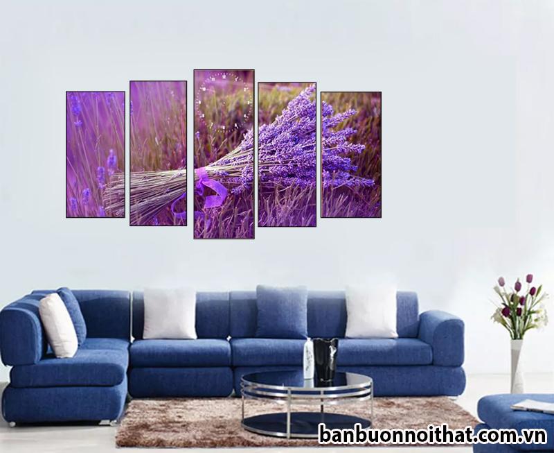 Tranh đồng hồ ghép phong cảnh hoa oải hương trang trí phòng khách