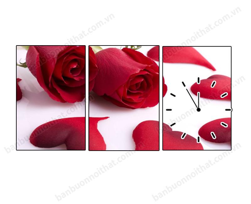 Tranh hoa hồng nhỏ 3 tấm ghép trang trí nhà chung cư hoặc căn hộ nhỏ