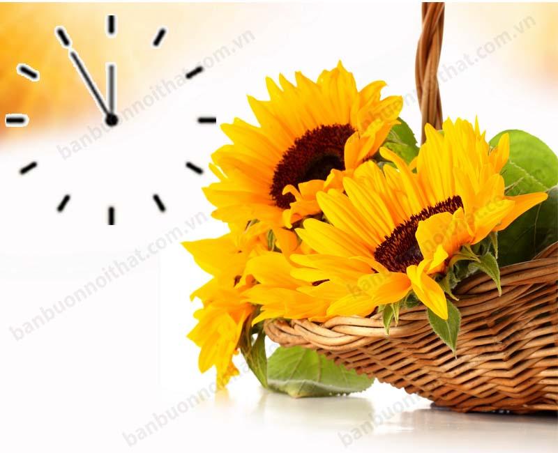 Mẫu đồng hồ treo tường 1 tấm hoa hướng dương đẹp