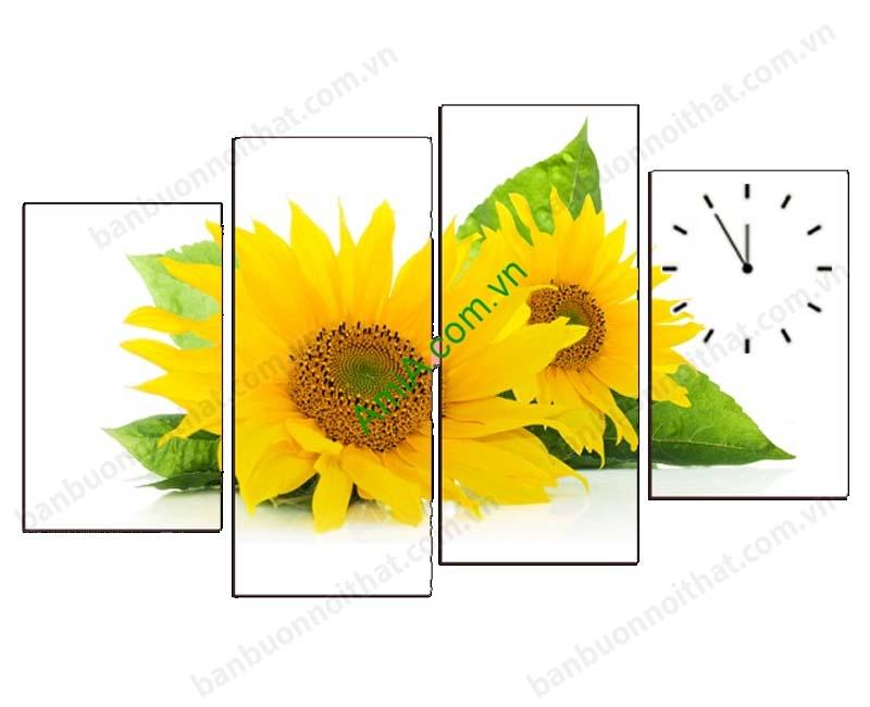 Tranh đồng hồ tranh hoa hướng dương treo tường sẽ mang lại nhiều sinh khí tốt