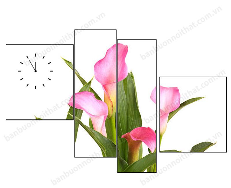 Mẫu đồng hồ tranh hoa loa kèm hồng trang trí tổ ấm của nữ chủ nhân nhẹ nhàng
