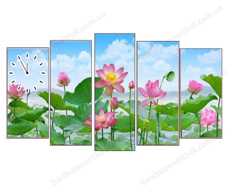 Tranh đồng hồ phong thủy hoa sen ghép 5 tấm in ép gỗ