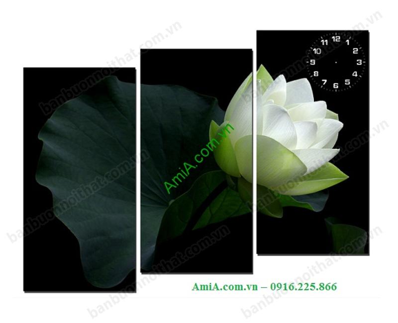 Tranh đồng hồ phong thủy hoa sen mang lại cho chủ nhân sự bình an