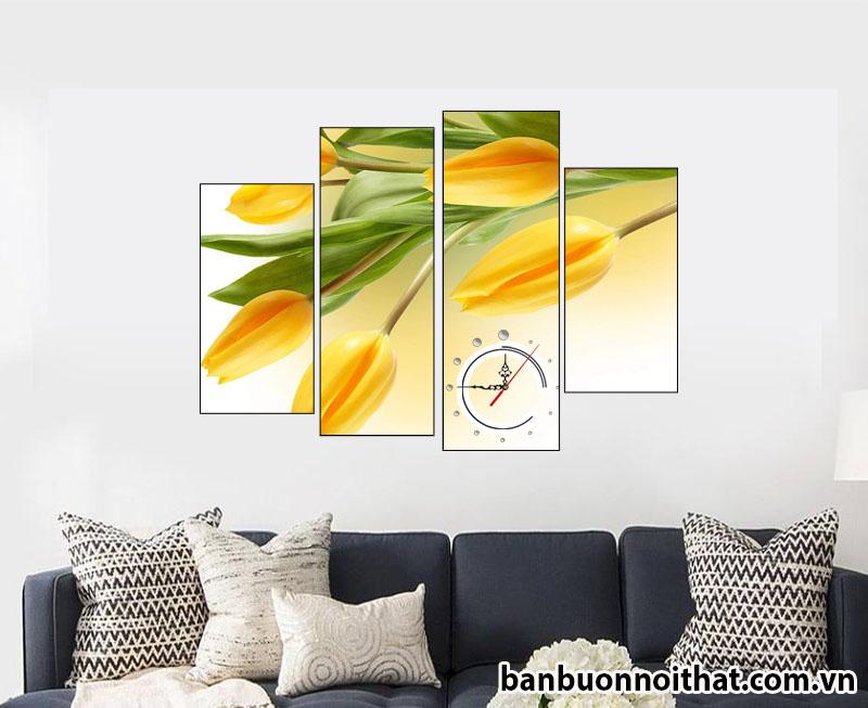 Tranh đồng hồ hoa Tulip rất thích hợp để trang trí nội thất hiện đại