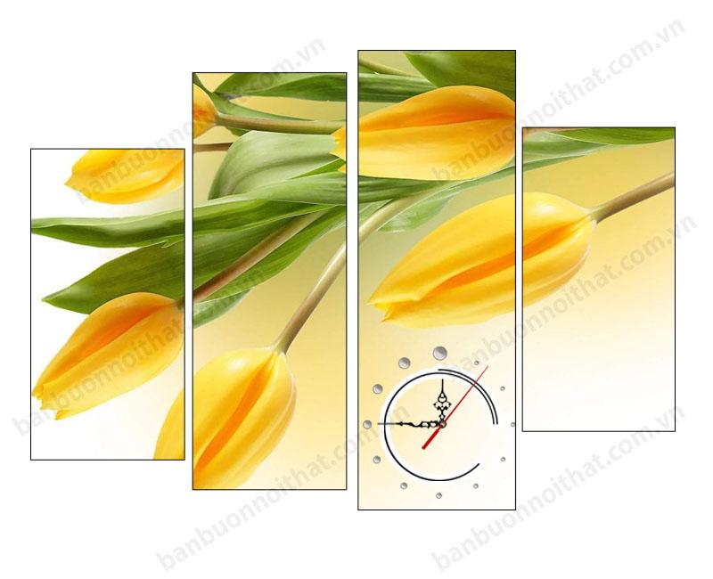 Mẫu tranh đồng hồ hoa Tulip đẹp vàng sang chảnh