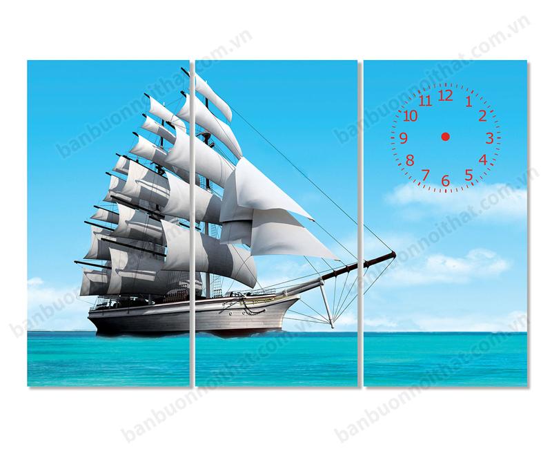 Mẫu tranh đồng hồ phong thủy phong cảnh thuận buồm xuôi gió