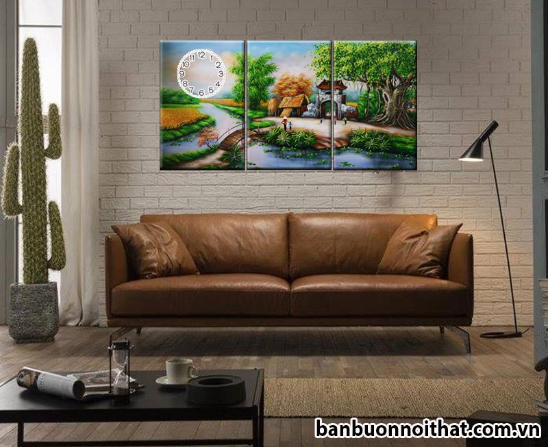 Tranh đồng hồ ghép bộ 3 tấm dễ dàng kết hợp với sofa hiện đại