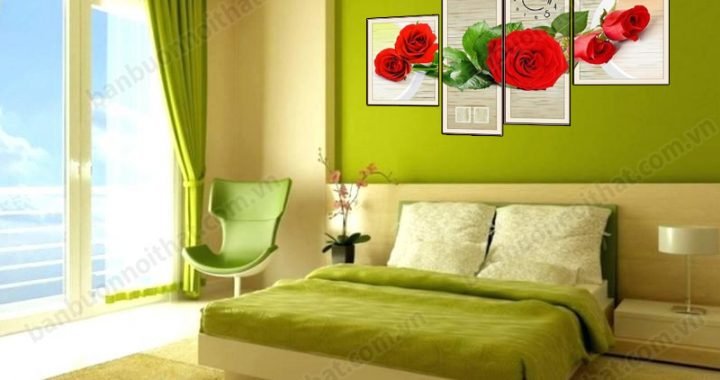 Tranh đồng hồ ghép bộ hoa hồng