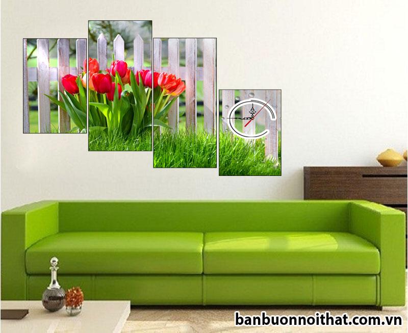 Một cách thiết kế khác giúp đồng hồ hoa tulip trông sang trọng sơn để phối cùng sofa da trẻ trung
