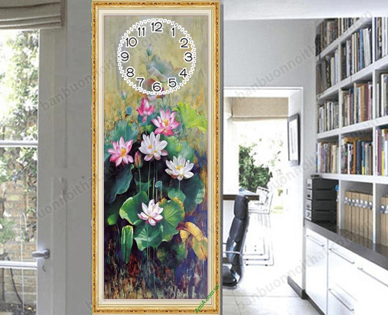 Tranh dọc đồng hồ tranh hoa sen in ép gỗ chất lượng in siêu nét