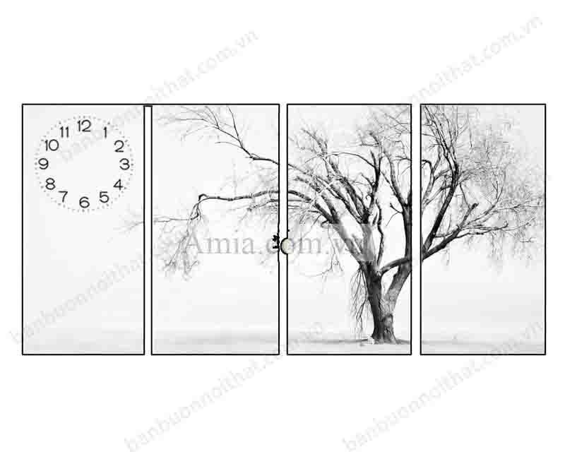 Mẫu tranh đồng hồ đen trắng cây đời , sự vươn lên mạnh mẽ trong cuộc sống