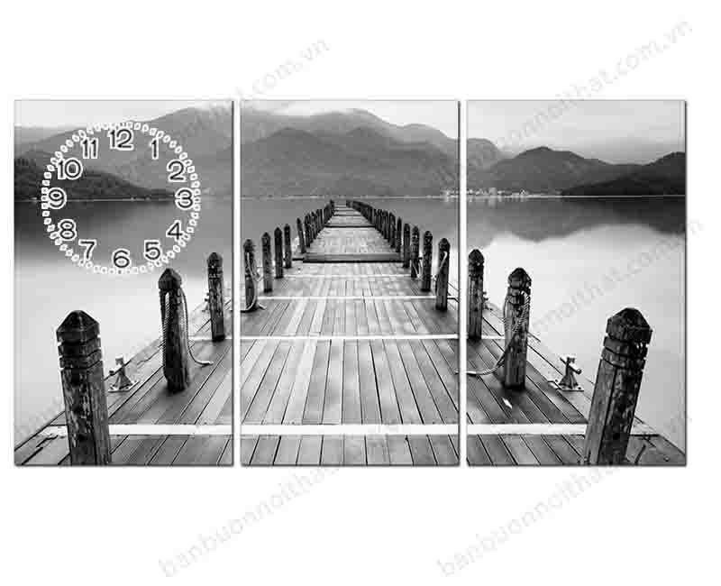 Những mẫu tranh đồng hồ cây cầu là vẻ đẹp muôn thủa của tranh đen trắng