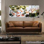 Tranh đồng hồ phong thủy cửu ngư quần hội cá chép hoa sen ý nghĩa dư dả quanh năm