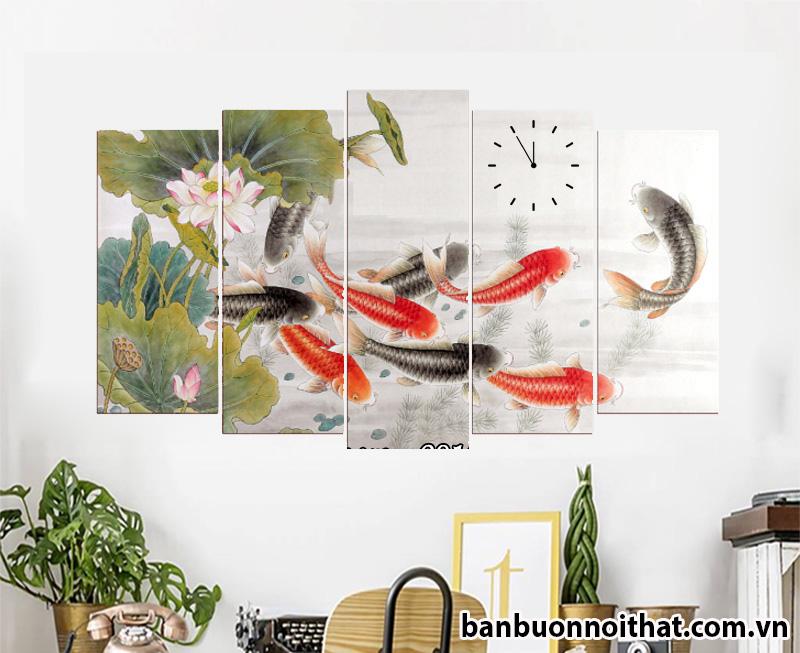 Tranh cá chép hoa sen hợp cho người mệnh thủy
