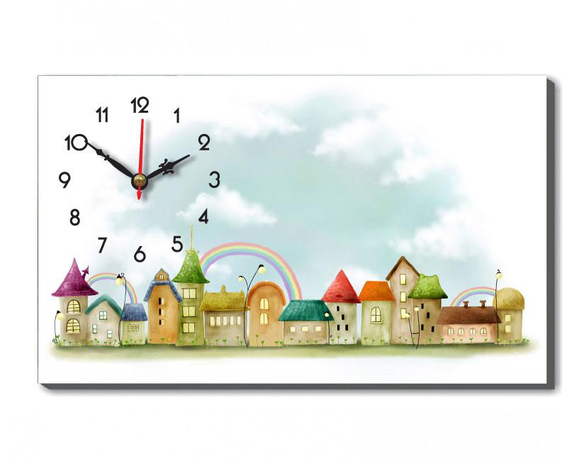 Mẫu tranh đồng hồ thể bàn thành phố qua tranh vẽ tạo cảm giác đang sống trong khung cảnh cổ tích lãng mạn