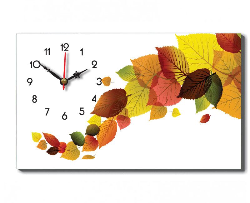Mẫu tranh đồng hồ để bàn lá mùa thu làm giảm áp lực về thời gian và giúp không gian thêm yên tĩnh