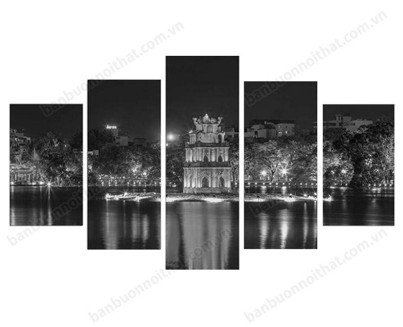 Mẫu tranh đồng hồ phong cảnh Hà Nội đen trắng